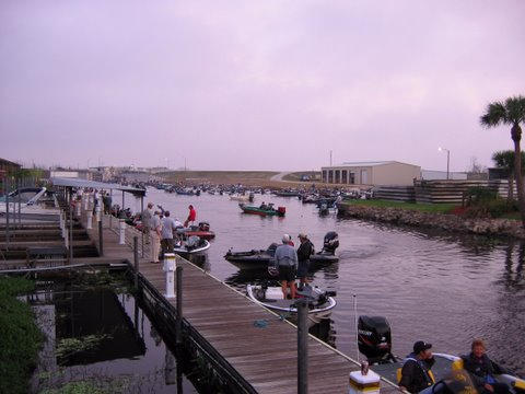 Early morning bass fishermen at Roland Martins on Okeechobee Waterway