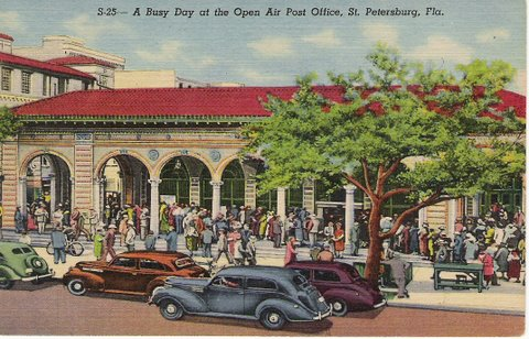 This vintage postcard of St Petersburg's open air post office is one of hundreds of postcards on Florida Back Roads Travel