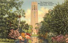This vintage postcard of Bok Tower Gardens captures the spirit of Florida's many historic tourist attractions