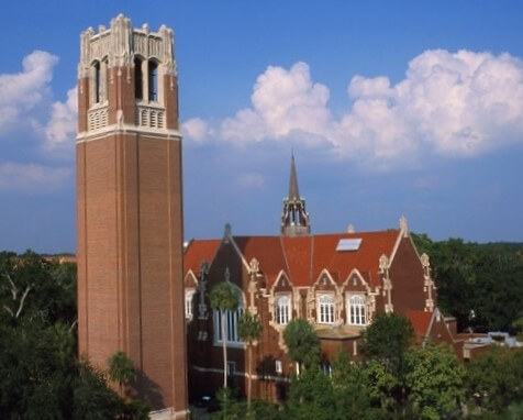 Century Tower at the University of Florida introduces to the many colleges and universities in the state