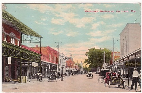 Vintage postcard of Woodland Blvd in Deland, Florida