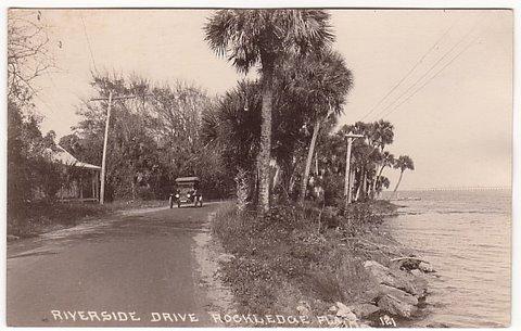 Riverside Drive Rockledge Florida Old Postcard