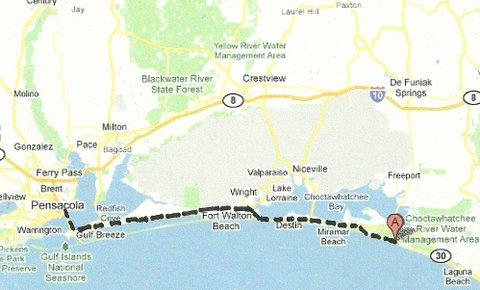 Map NW003 Grayton Beach to Pensacola