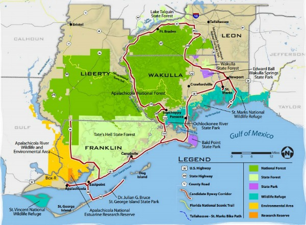 Map Big Bend Scenic Byway from Apalachicola to St. Marks