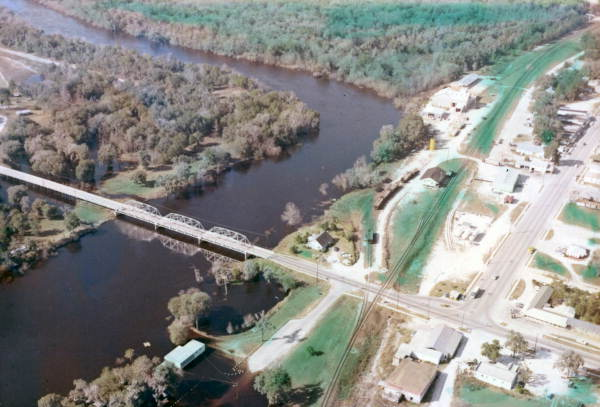 Aerial View of Branford, Florida and Suwannee River