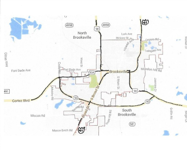 The highway network in Brooksville, Florida