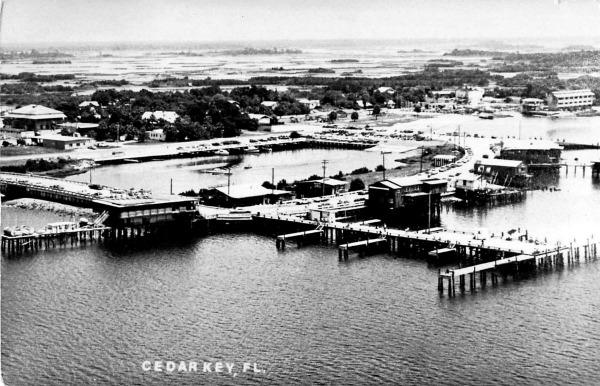 Vintage Aerial Photo of the Dock in Cedar Key