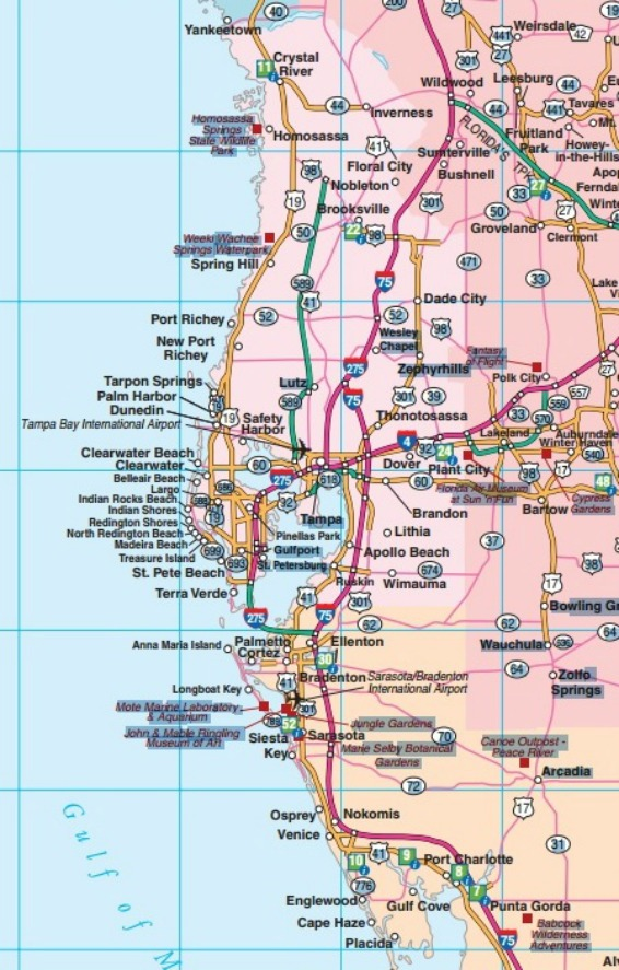 Central West Coast Florida Beaches Map