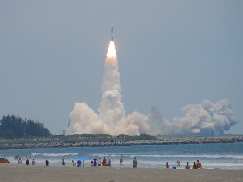 Viewing a Rocket Launch from Beach in Cape Canaveral