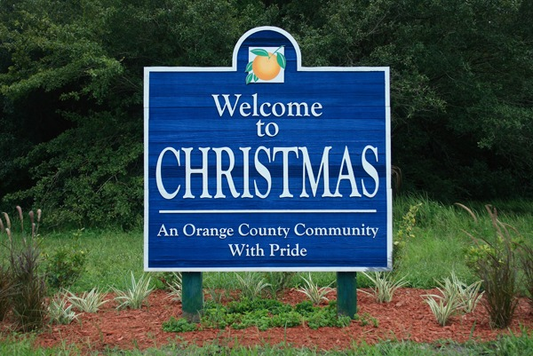 Welcoming Sign at Christmas, Florida