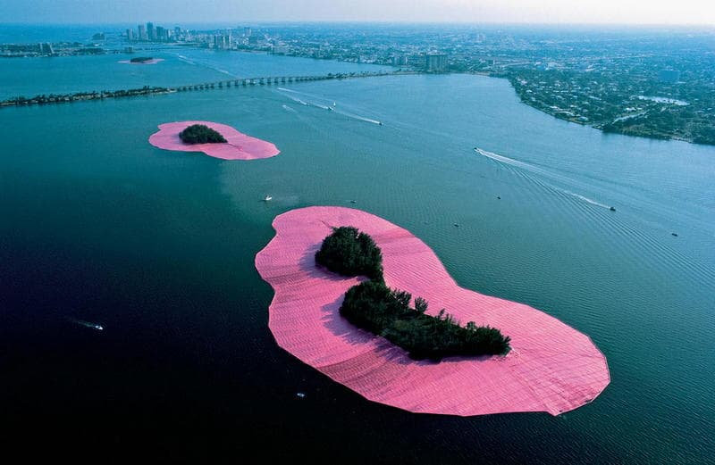 Christo Surrounded Islands Looking South on Biscayne Bay Toward Downtown Miami