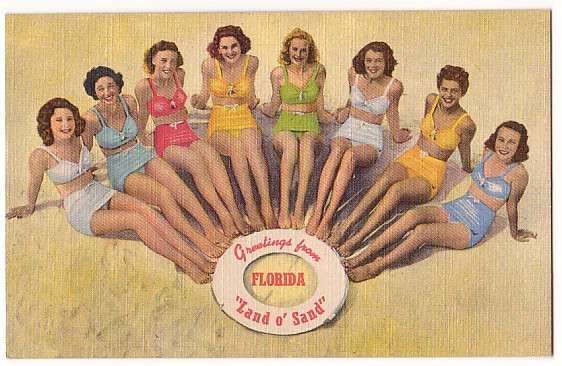 Vintage Postcard Florida Beach Beauties