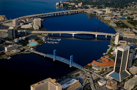 Downtown Jacksonville, Florida and the St Johns River