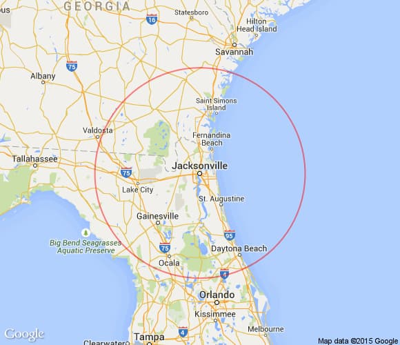 Places to see within 100 miles of Jacksonville, Florida.