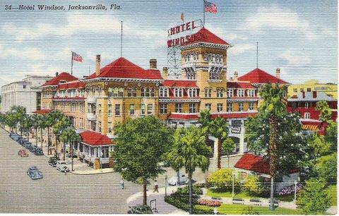 Jacksonville Florida Hotel Windsor Vintage Postcard