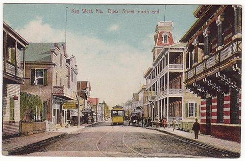 Key West Duval St Vintage Postcard