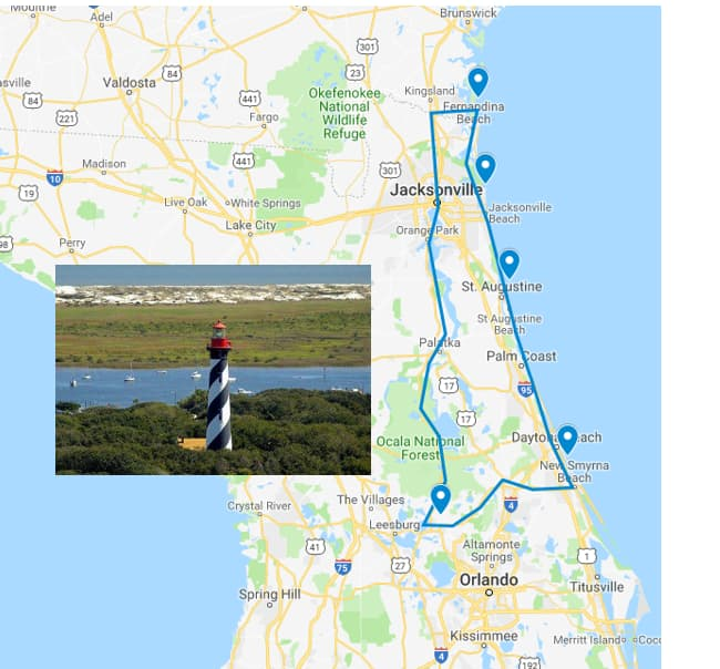 Lighthouses:  Mount Dora, Ponce Inlet, St Augustine, Mayport, Amelia Island
