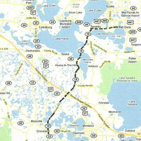Central Florida Day Trips And One Tank Trips - Us 19 florida map