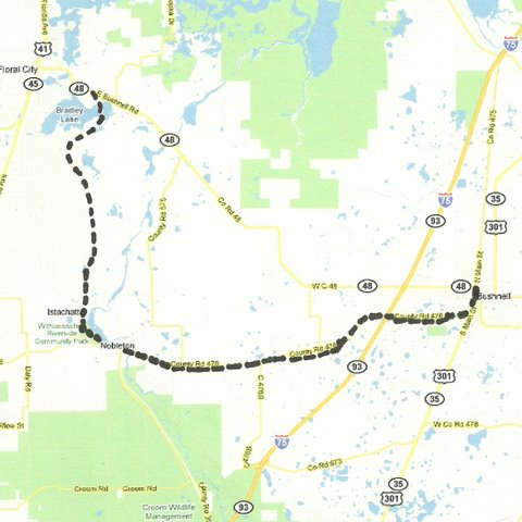 Map CW001 Bushnell to Florida City
