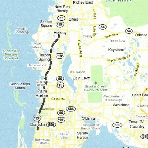 Us 19 Florida Map.Central West Florida Road Trips And Scenic Drives With Maps