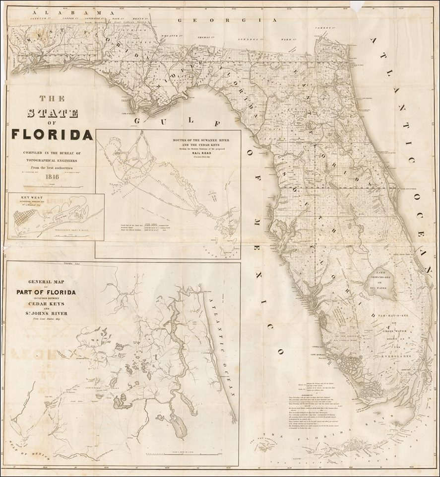 First Map of Florida After Statehood 1846