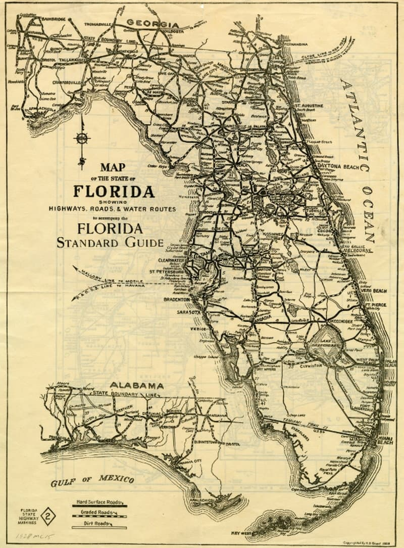 Map Of Florida Roads.Florida Vintage Road Maps Track The Growth Of The State