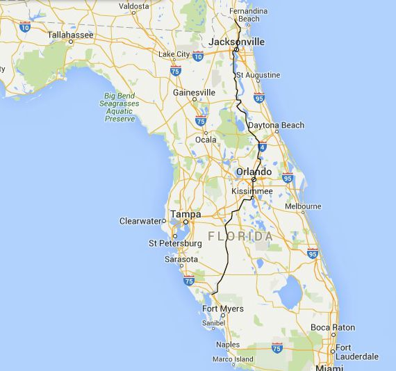 Florida Road Trips On The NorthSouth Highways – Florida Travel Map