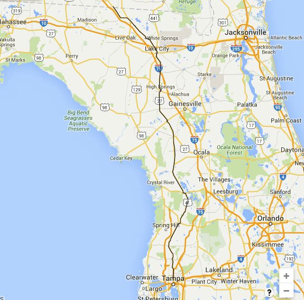 Florida Road Trips On The NorthSouth Highways - Map of the us including interstates and major cities