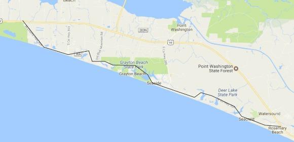 Map Panama City Beach to Grayton Beach on 30A