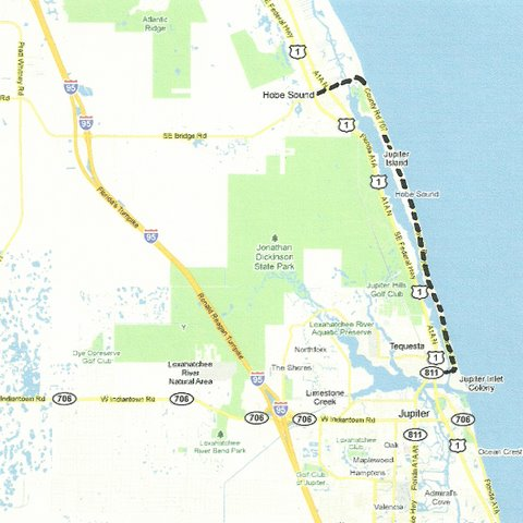 Map SE001 Hobe Sound to Jupiter Inlet