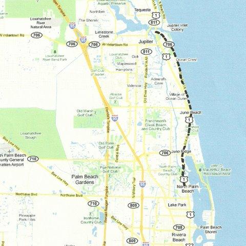 Map SE002 Jupiter to North Palm Beach