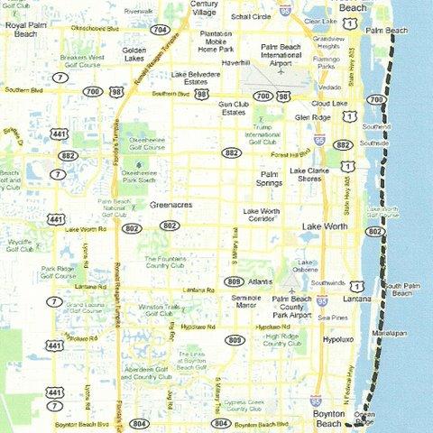 Map SE004 Palm Beach to Boynton Beach
