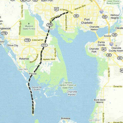 Map SW001 Port Charlotte to Boca Grande