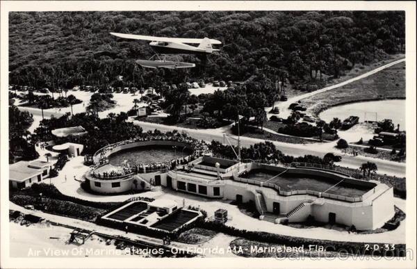 Vintage postcard showing aerial of Marineland in 1946