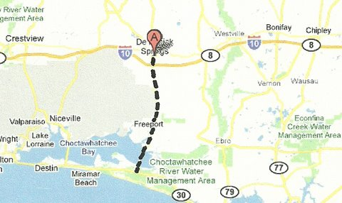 Map DeFuniak Springs to Grayton Beach