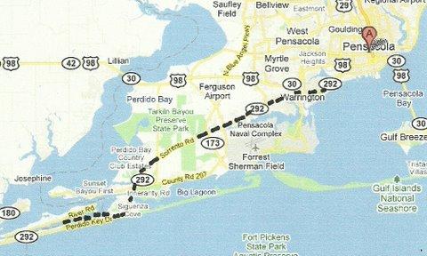 Map Pensacola to Perdido Key