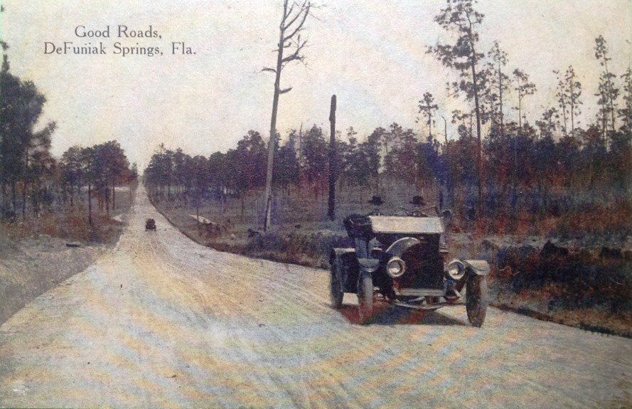 Vintage Postcard Good Roads DeFuniak Springs, Florida