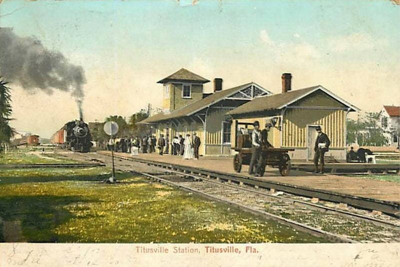Vintage Postcard Titusville, Florida Train Station