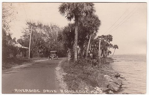 Riverside Drive Rockledge Florida Old Postcard
