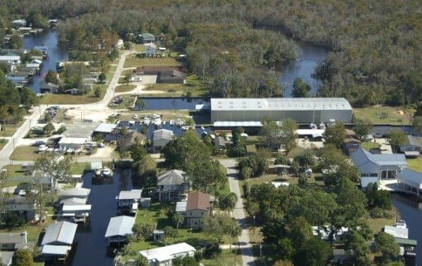 Aerial View of Suwannee, Florida