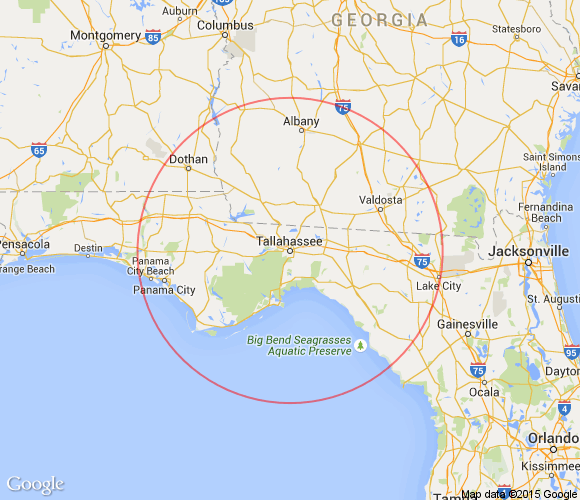 Map Of Tallahassee Florida.Tallahassee Florida Day Trips And One Tank Trips 100 Miles Or Less