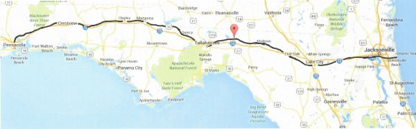 US90 Pensacola to Jacksonville Beach