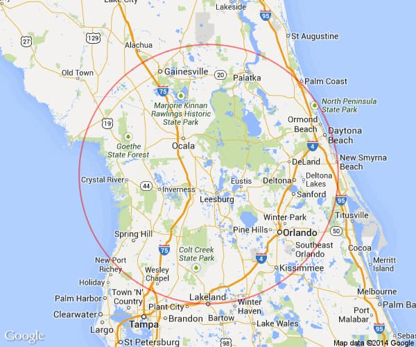 Villages Florida Map Villages Florida Day Trips & One Tank Trips 100 Miles Or Less