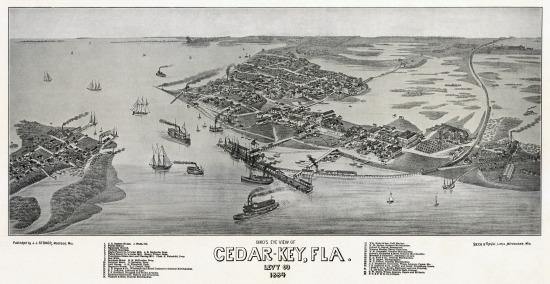 Vintage Cedar Key Map