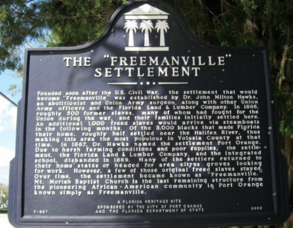 Plaque honoring the Freemanville Settlement