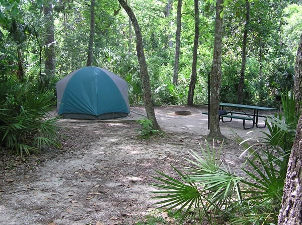 Campsite at Alexander Springs in Ocala National Forest