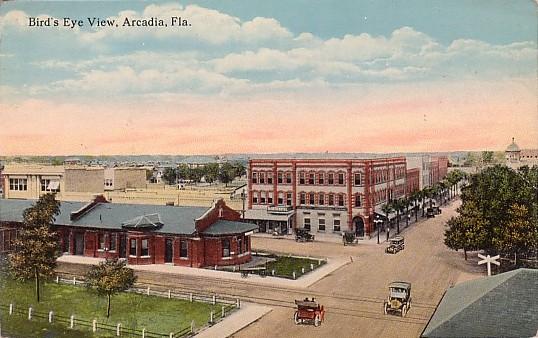 Arcadia Florida birdseye view postcard