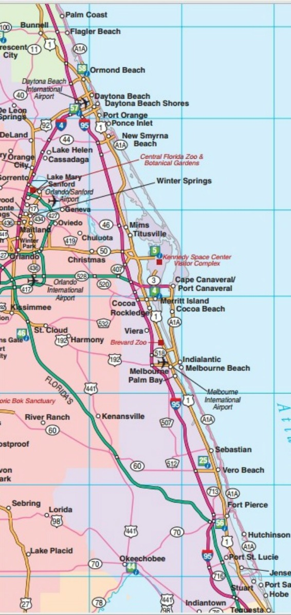 Map US-1 and SR-A1A Ormond Beach to Stuart