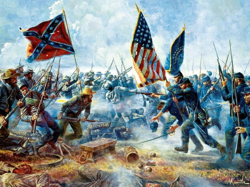 Pickett's Charge, Battle of Gettysburg, July 3, 1863. Painting by Mort Kuntsler