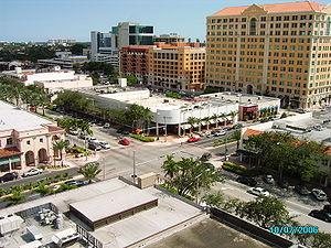 Downtown Coral Gables aerial view